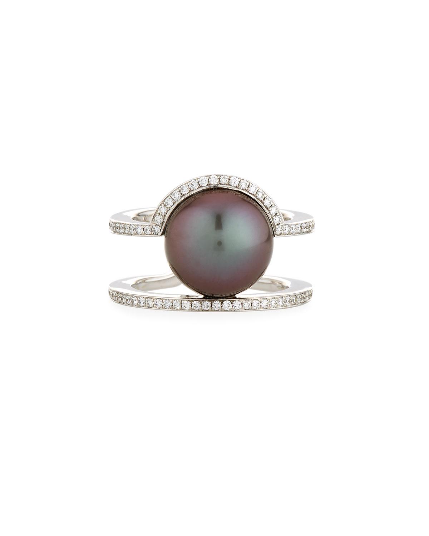 Kobe Sunrise Tahitian Pearl & Diamond Ring, Size 7.5