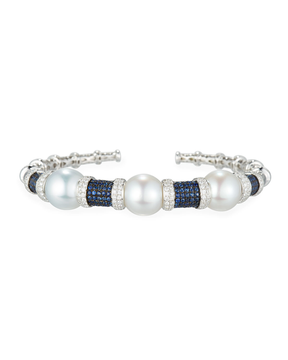 BELPEARL South Sea Pearl Bracelet With Blue Sapphires & Diamonds In 18K White Gold