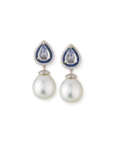 South Sea Pearl Drop Earrings with Moonstone, Blue Sapphires & Diamonds