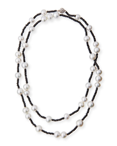 Long South Sea Pearl & Black Spinel Necklace, 40