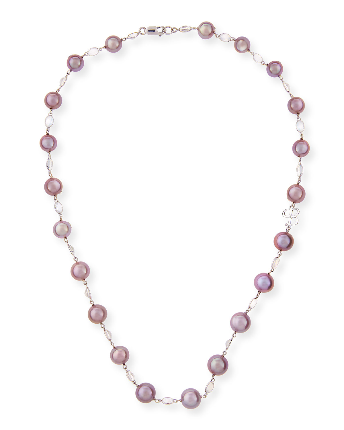 """BELPEARL KASUMIGA PINK PEARL & MOONSTONE NECKLACE IN 18K WHITE GOLD, 20"""""""