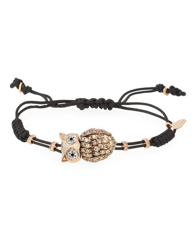 Pull-Cord Bracelet with Brown Diamond Owl in 18K Gold