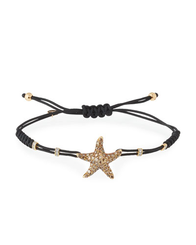 Pull-Cord Bracelet with Diamond Starfish in 18K Yellow Gold