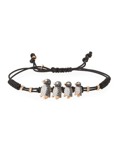 Pull-Cord Bracelet with Black & White Diamond Penguins in 18K Gold