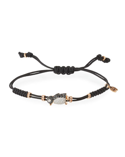 Pull-Cord Bracelet with Black & White Diamond Penguin in 18K Gold