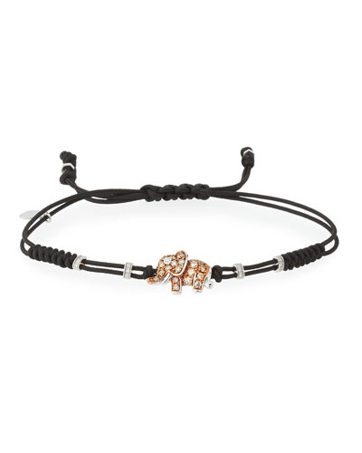 Pull-Cord Bracelet with Brown & White Diamond Elephant Station