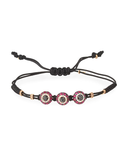 Pull-Cord Bracelet with Diamond & Ruby Fatima Eye Stations