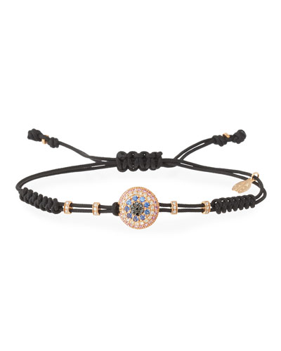 Pull-Cord Bracelet with Diamond & Sapphire Fatima Eye