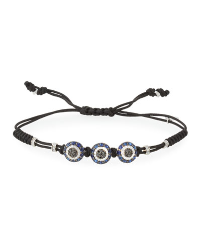 Pull-Cord Bracelet with Black & White Diamond Fatima Eye Stations