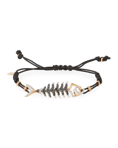Pull-Cord Bracelet with Black & White Diamond Fishbone Station