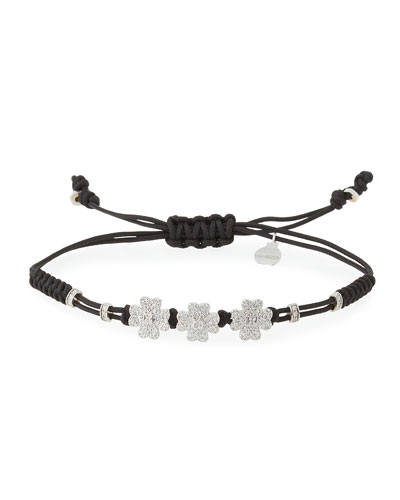 Pull-Cord Bracelet with Diamond Four Leaf Clover Stations