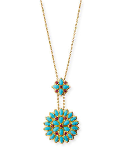 Turquoise Cabochon & Ruby Pendant Necklace in 18K Gold