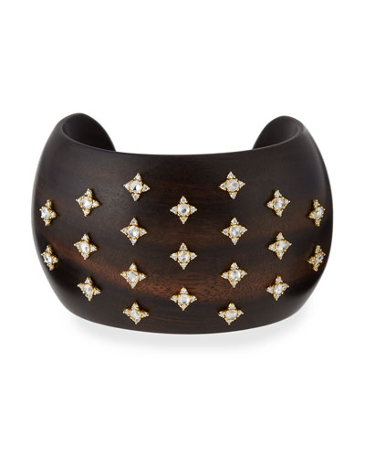 Sprinkled Diamond Ebony Cuff Bracelet