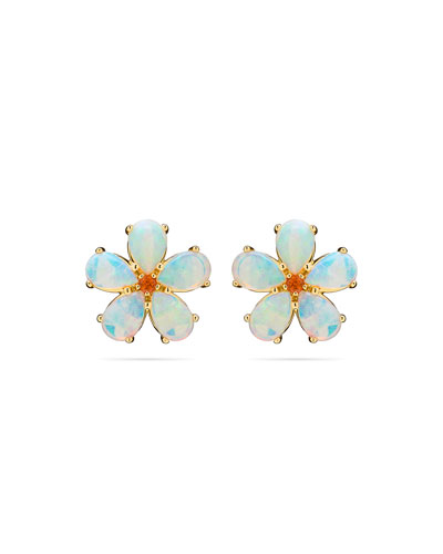 Opal & Spessartite Flower Stud Earrings