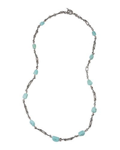 Turquoise & Sterling Silver Long Link Necklace