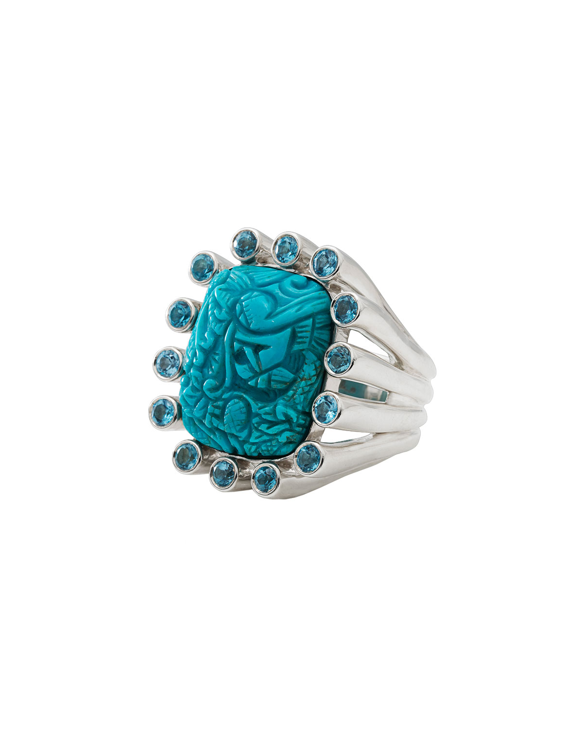 CARVED TURQUOISE & BLUE TOPAZ RING
