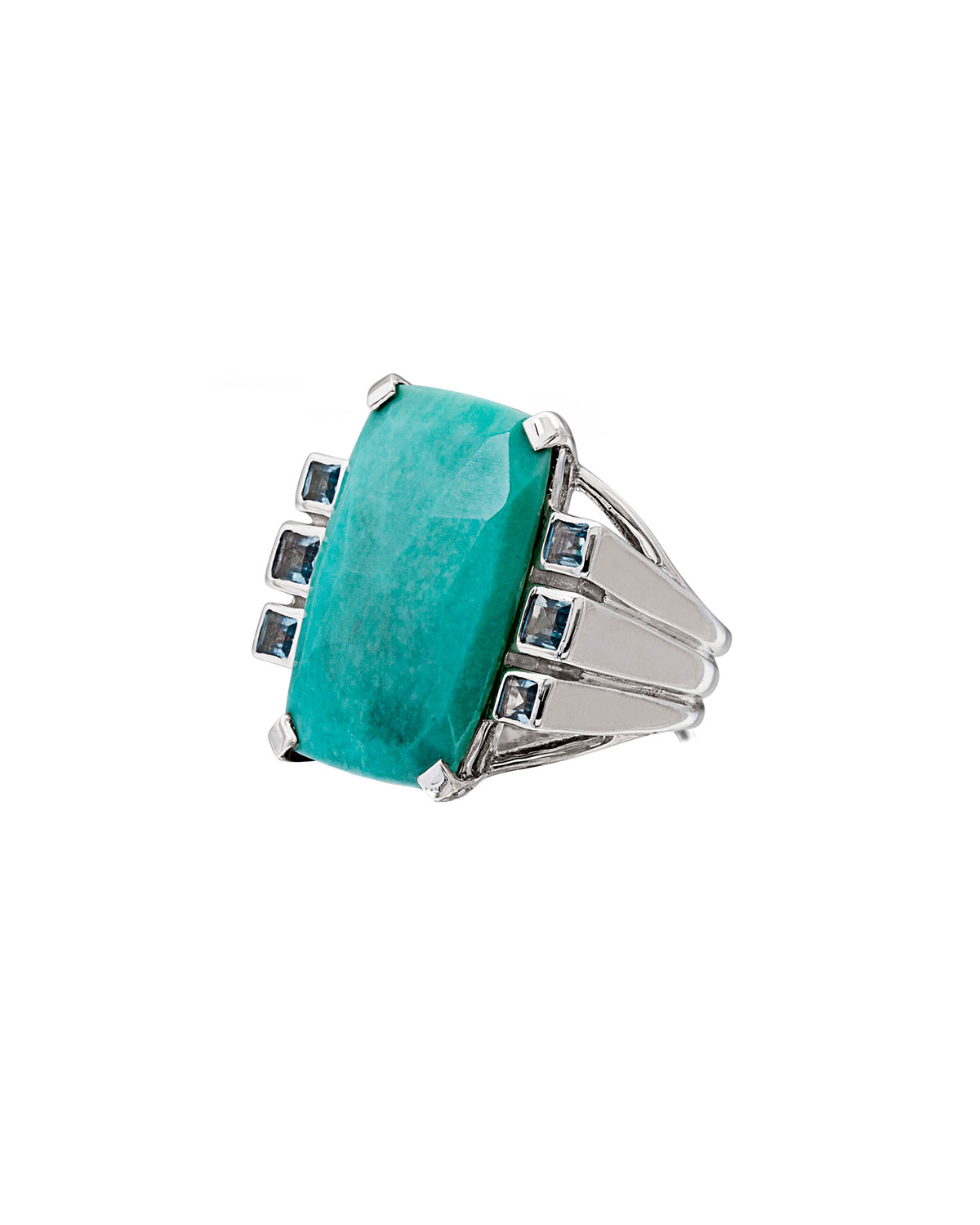 STEPHEN DWECK Faceted Turquoise & Blue Topaz Cushion Ring