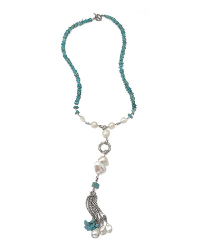Turquoise & Pearl Beaded Tassel Necklace