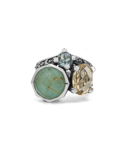 Doublet Cluster Small Ring with Turquoise & Quartz