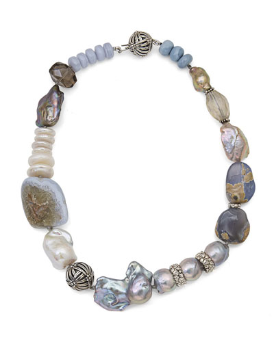 Smoky Quartz & Blue Lace Agate Beaded Necklace