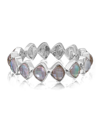 Freeform Faceted Crystal Quartz Triplet Bracelet