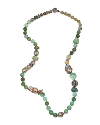 Chrysoprase, Labradorite & Smoky Quartz Beaded Necklace
