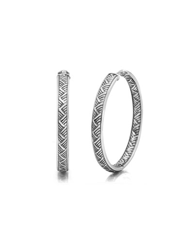 32mm Basketweave Hoop Earrings