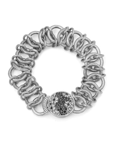 Engraved Chain Bracelet with Black Spinel