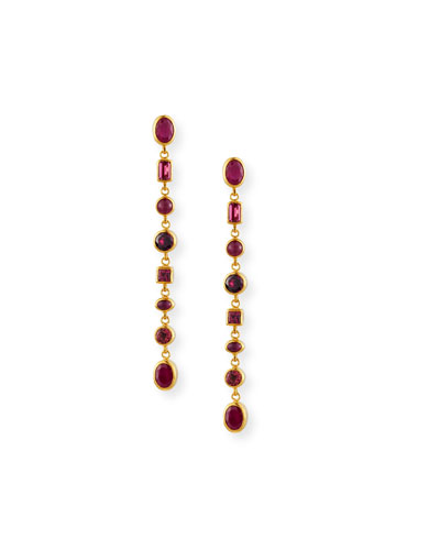 Laguna Ruby, Pink Tourmaline & Rhodolite Linear Earrings