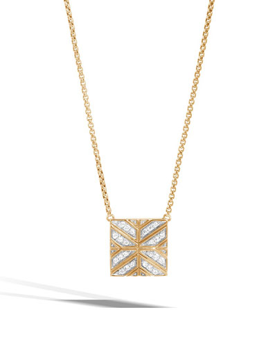 Modern Chain 18K Gold Square Pendant Necklace with Diamonds