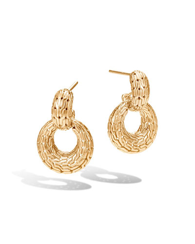 Classic Chain Hoop Drop Earrings in 18K Gold