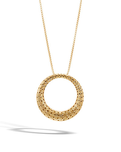 Classic Chain Large Circle Pendant Necklace in 18K Gold, 36
