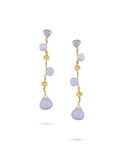 Paradise Chalcedony Drop Earrings in 18K Yellow Gold with Diamonds