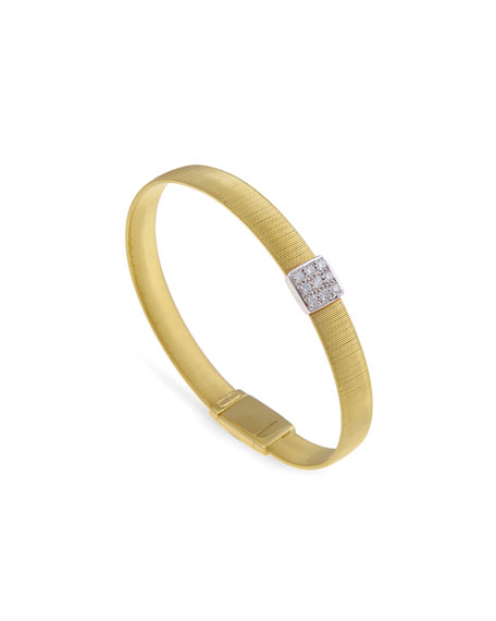 Marco Bicego Masai 18K Gold Single-Strand Bracelet with Diamond Square