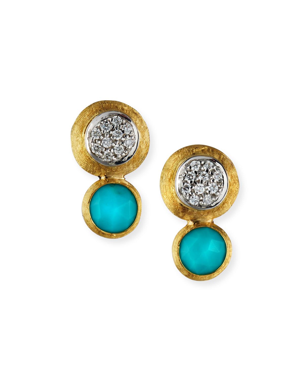 18k Gold Jaipur Two-Stone Stud Earrings