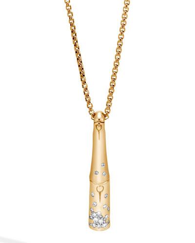 Bamboo 18K Gold Pavé Diamond Pendant Necklace