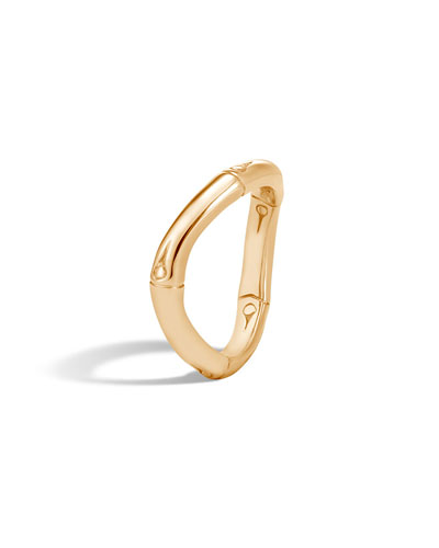 Bamboo Curved 18k Gold Band Ring, Size 7
