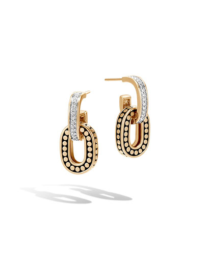 Dot 18k Small Link Double-Drop Earrings w/ Diamonds
