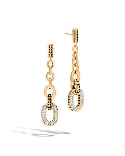 Dot 18K Gold Long Link Earrings with Diamonds