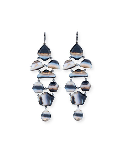 Eloise Black & White Agate Earrings with Black Diamonds