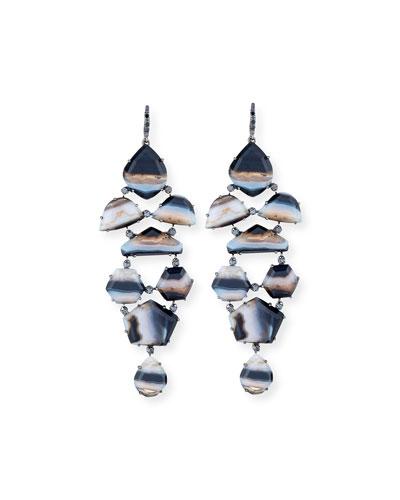 Eloise Black & White Agate Earrings with Black Diamonds