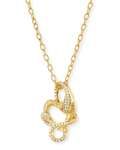 18K Yellow Gold Snake Pendant Necklace with Diamonds