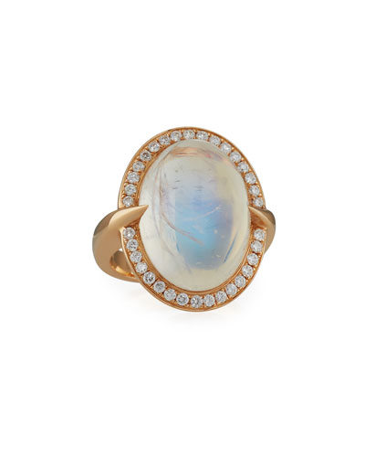 Sparta Oval Rainbow Moonstone Ring with Diamonds in 18K Rose Gold