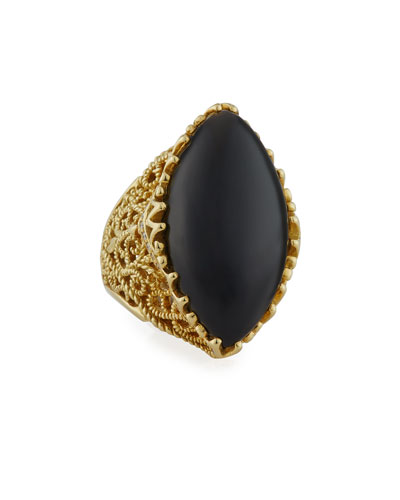 Gitan Black Onyx Cocktail Ring with Diamonds
