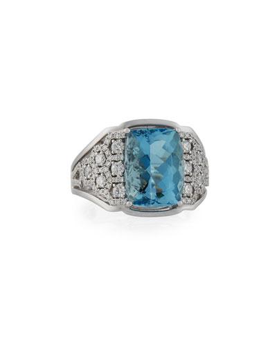 Aquamarine & Diamond Ring in 18K White Gold