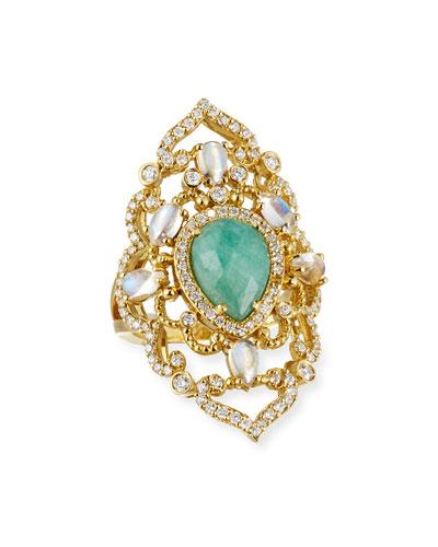 18K Yellow Gold, Emerald & Moonstone Ring with Diamonds