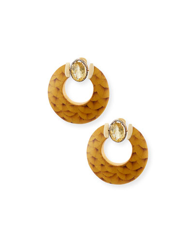 18K Gold Marquetry Hoop Earrings with Citrine & Light Brown Diamonds