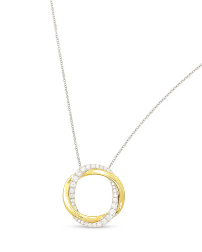 18K Gold Twist Halo Diamond Pendant Necklace