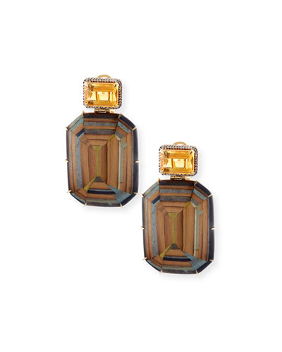 Marquetry Geometric Earrings with Light Brown Diamonds & Citrine