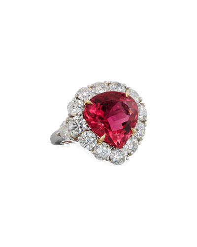 Pink Tourmaline & Diamond Heart Ring in Platinum